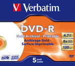2 Verbatim DVD-R Gold Archival 5 Pack